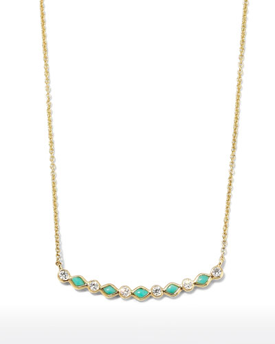 Turquoise & Diamond Bezel Bar Necklace