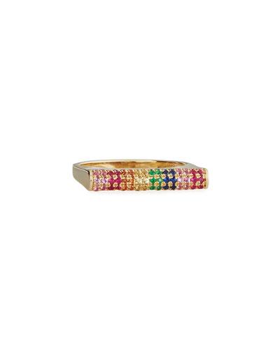 Pavé Rainbow Sapphire Roll Bar Ring, Size 6.5