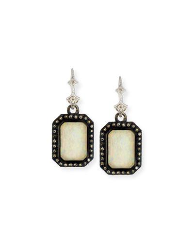 New World Opal & Ice Triplet Earrings with Diamonds