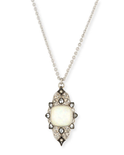 New World Scroll Necklace with Opal & Champagne Diamonds