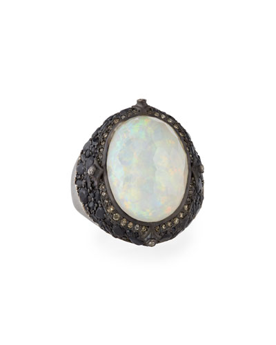 New World Blackened Silver Opal Triplet Ring with Diamonds
