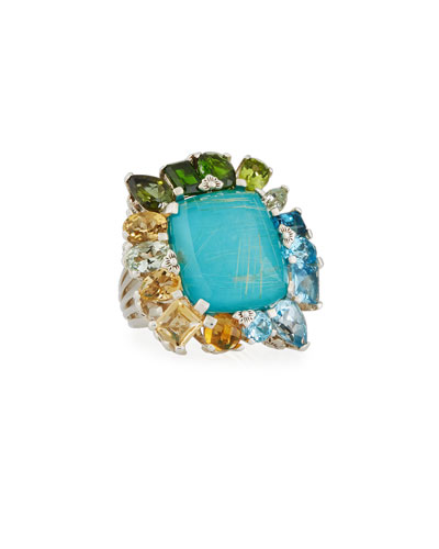 Gold Rutilated Quartz over Turquoise Doublet Ring, Size 7