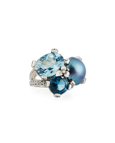 Blue Topaz & Mabe Pearl Three-Stone Ring, Size 7