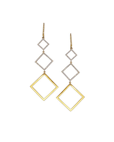 Tricolor Electric Earrings with Diamonds