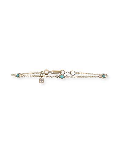 Turquoise & Diamond Bezel Chain Bracelet