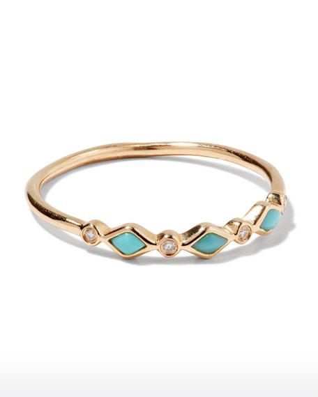 Sydney Evan Turquoise Bezel & Diamond Stacking Ring