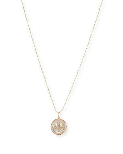 Medium Happy Face 14K Necklace with Diamonds