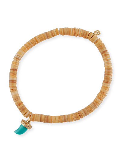 5mm Heishi Beaded Bracelet w/ Turquoise & Diamond Horn Charm