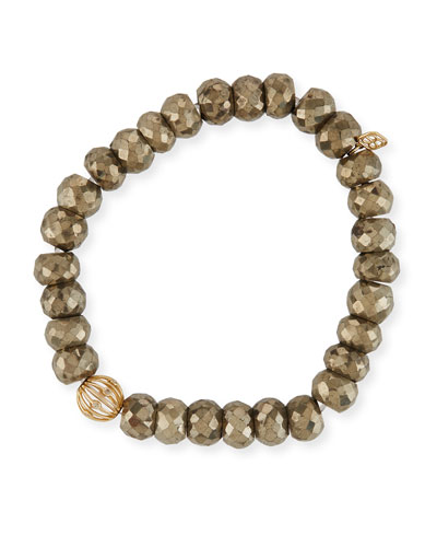 8mm Pyrite Beaded Bracelet w/ 14k Diamond Ball Charm
