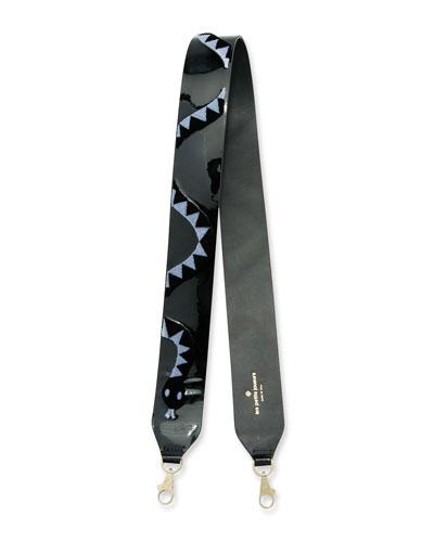 Snake-Print Leather Shoulder Strap, Black