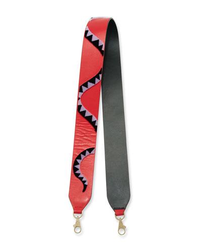 Snake-Print Leather Shoulder Strap, Red