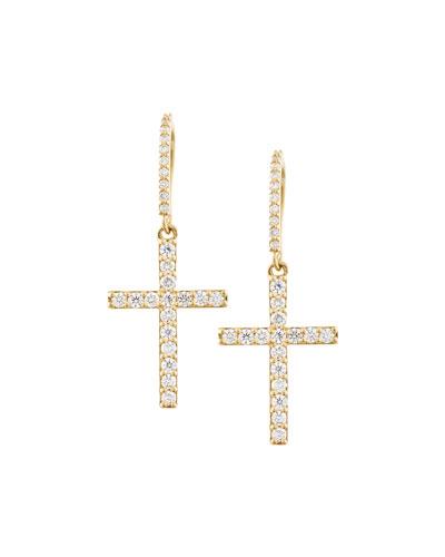 Diamond Cross Wire Earrings in 14K Gold