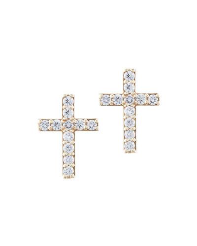 Diamond Cross Stud Earrings in 14K Gold