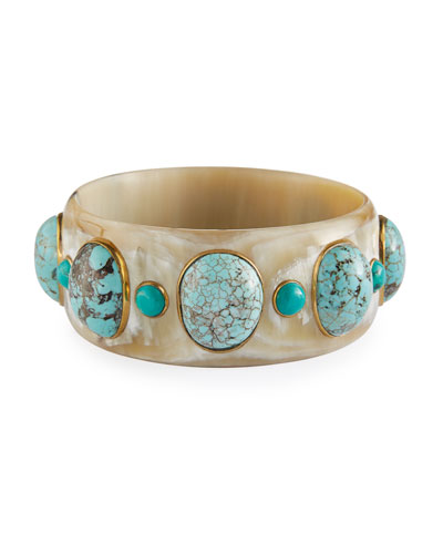 Michezo Light Horn & Turquoise Bangle