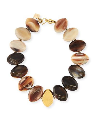 Shari Mixed Horn Petal Collar Necklace