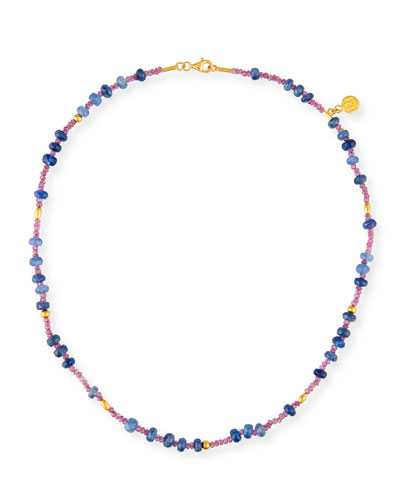 Delicate Flurries Burmese Ruby & Sapphire Necklace