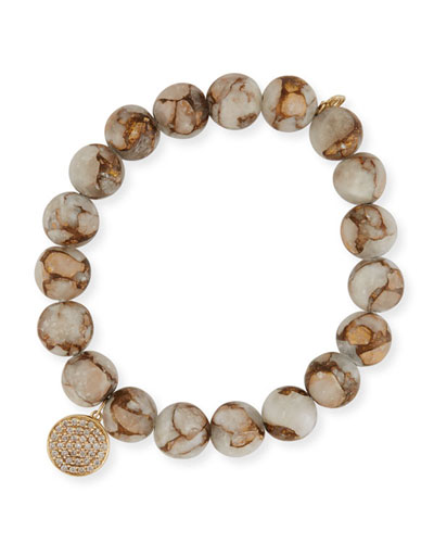 Marbled Calcite Beaded Bracelet with Diamond Disc Charm