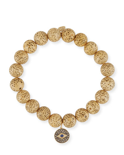 Lotus Seed Beaded Bracelet w/ 14k Diamond Evil Eye Charm