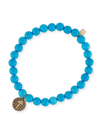 6mm Beaded Blue Turquoise Bracelet with Diamond Cross Charm