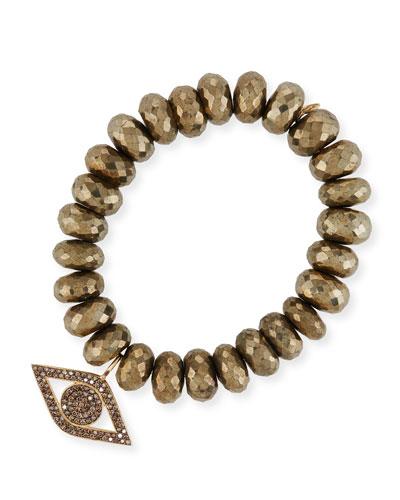 12mm Pyrite Beaded Bracelet w/ 14k Diamond Evil Eye Charm