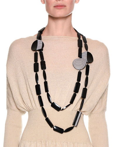 Chunky Beaded Necklace, Black