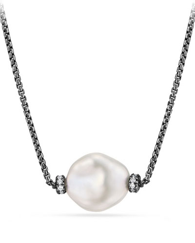 Oceanica Pearl & Diamond Pendant Necklace, 17