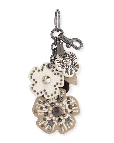 Willow Flower Mix Handbag Charm/Key Chain, Black/White