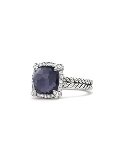 9mm Châtelaine Ring in Amethyst Doublet with Diamonds
