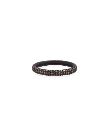Armenta Old World Blackened Band Ring with Champagne Diamonds, Size 6-7.5