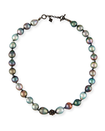 Old World Midnight Tahitian Pearl Necklace with Diamonds