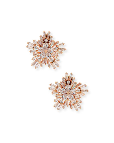 Monarch Starburst Crystal Earrings, Rose Golden