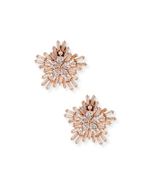 Monarch Starburst Crystal Earrings, Rose Golden