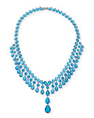 Monarch Raindrop Bib Necklace, Blue