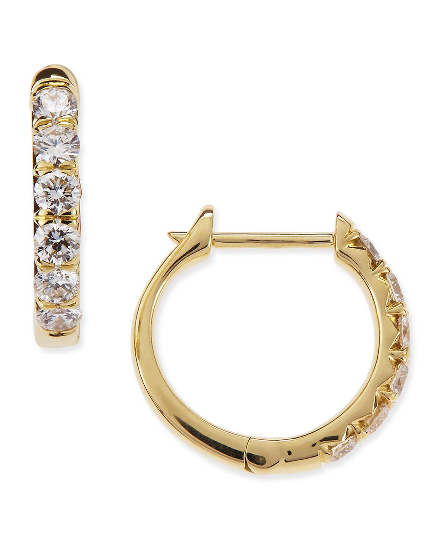 Pave Diamond Hoop Earrings in 18K Gold