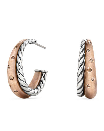 Pure Form Bronze & Silver Hoop Earrings with Cognac Diamonds