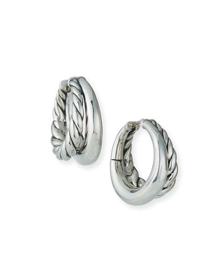 David Yurman 25.5mm Pure Form Sterling Silver Double Hoop Earrings