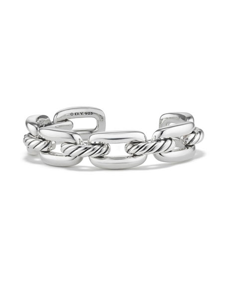David Yurman Wellesley Sterling Silver Link Cuff Bracelet
