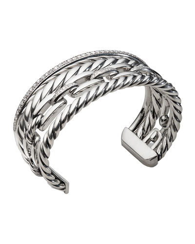 Wellesley Sterling Silver Four-Row Cuff Bracelet with Diamonds