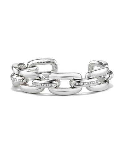 Wellesley Sterling Silver Chain Bracelet with Diamond Links