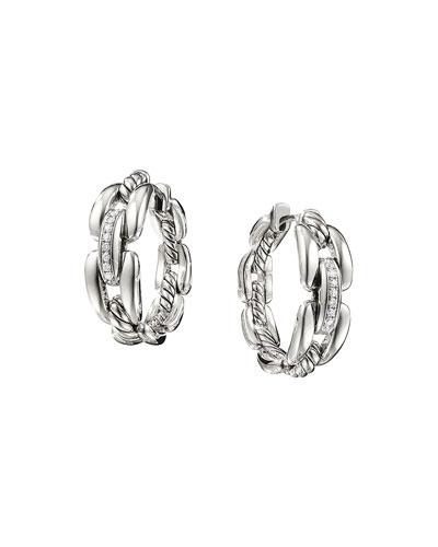 Wellesley Sterling Silver Small Hoop Earrings with Diamonds