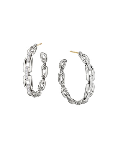 Wellesley Sterling Silver Large Hoop Earrings with Diamonds