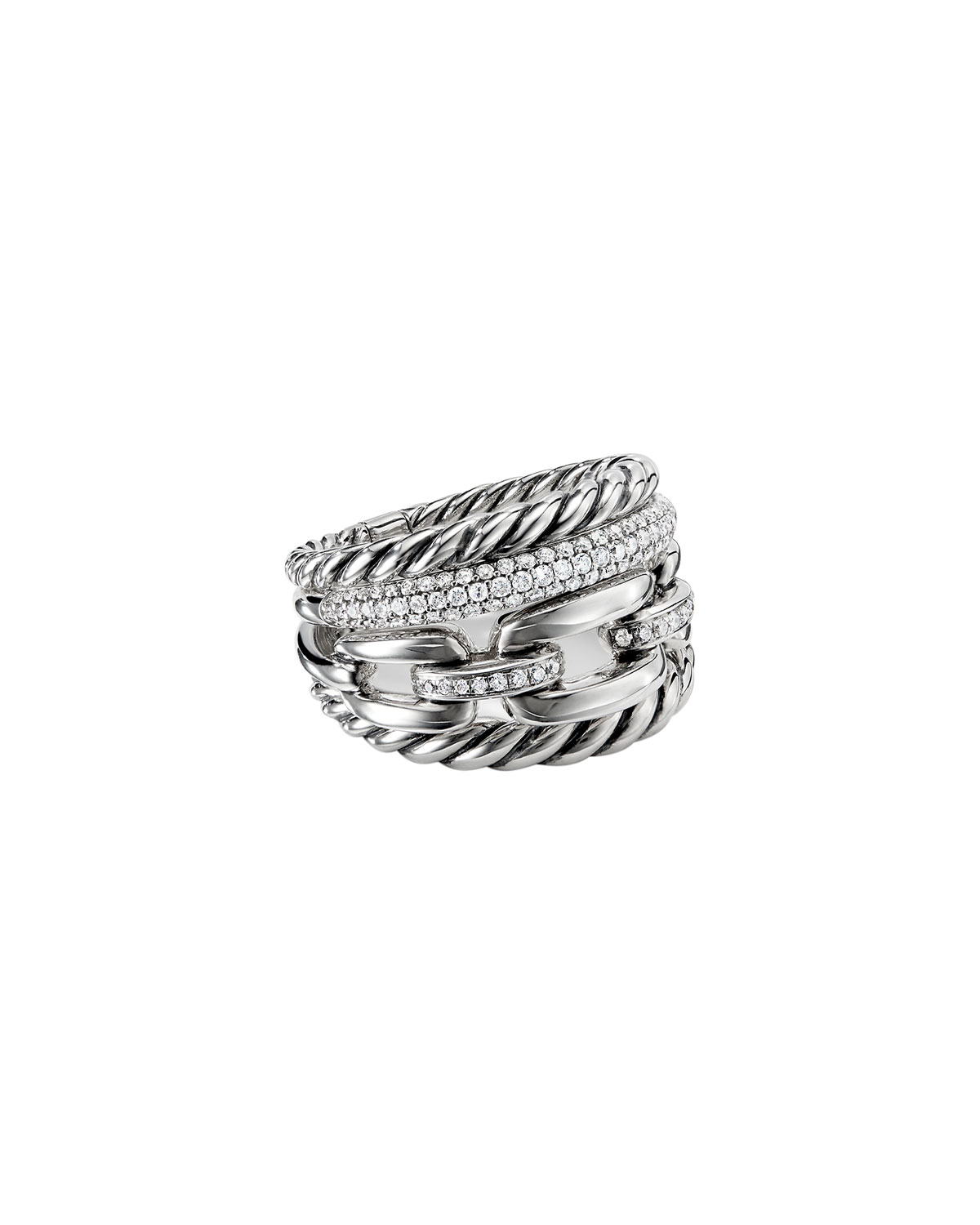 Wellesley Sterling Silver Four-Row Ring with Diamonds