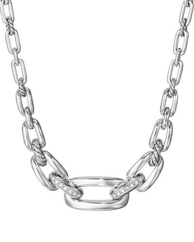Wellesley Sterling Silver Chain Collar Necklace with Diamonds