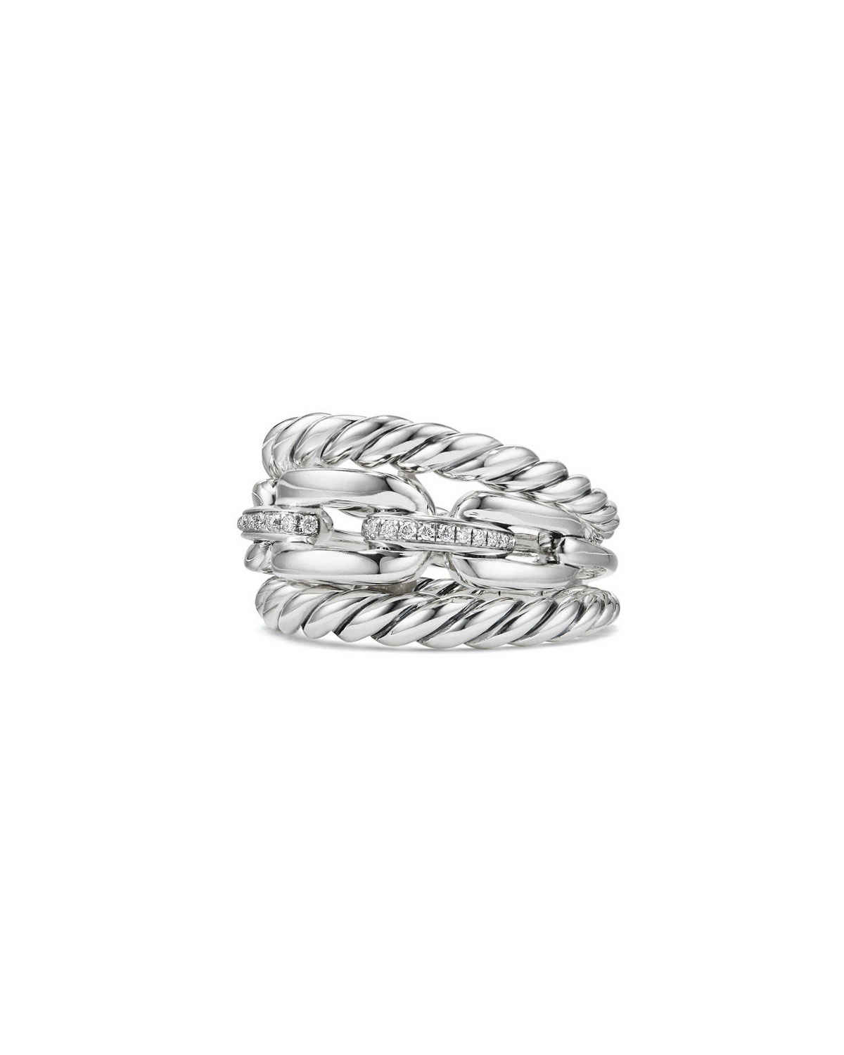 Wellesley Sterling Silver Three-Row Ring with Diamonds