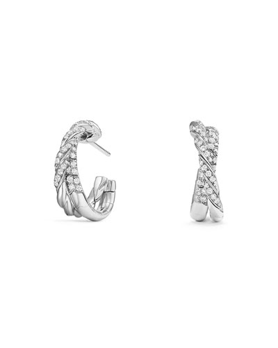 18k Paveflex Diamond Hoop Earrings, 1.0tcw