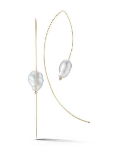 14k Gold Open-Hoop Pearl Earrings