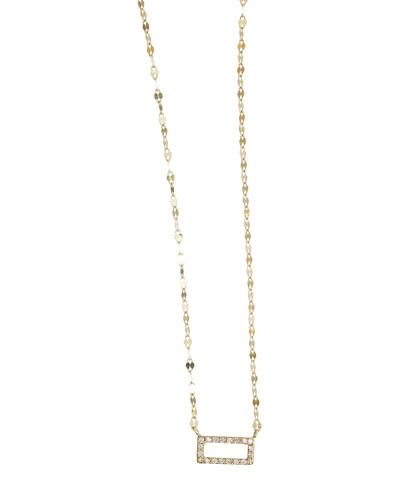 Mini Diamond Rectangle Pendant Necklace