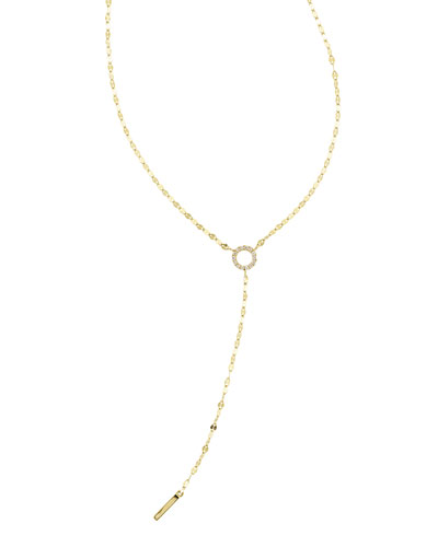 Mini Diamond Circle Lariat Necklace