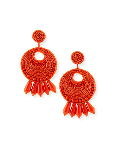 Seed-Bead Tassel Clip Earrings, Coral