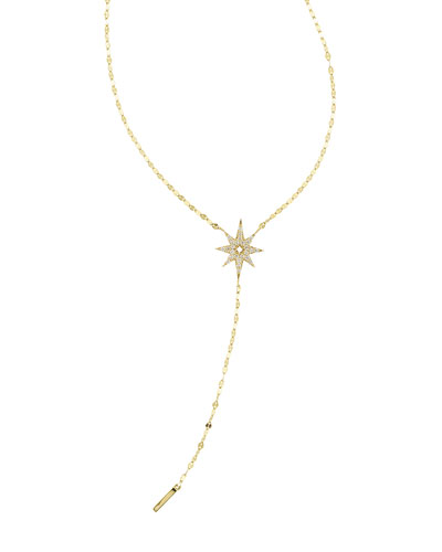 Large Diamond Star Lariat Necklace
